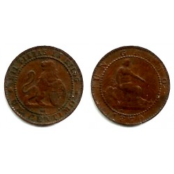 Gobierno Provisional. 1870. 1 Céntimo (MBC) Ceca de Barcelona OM. VARIANTE