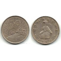 (5) Zimbabue. 1990. 50 Cents (BC)