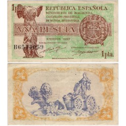 España (II República). 1937. 1 Peseta (EBC+) Serie B