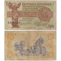 España (II República). 1937. 1 Peseta (BC+) Serie A