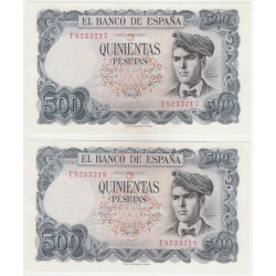 Estado Español. 1971. 500 Pesetas (x2) (SC) Serie T. Pareja Correlativa