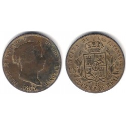 Isabel II. 1863. 25 Céntimos de Real (MBC+) Ceca de Barcelona