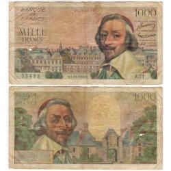 (134a) Francia. 1954. 1000 Francs (BC) Roturas