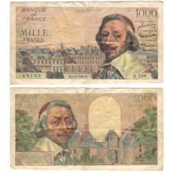 (134a) Francia. 1956. 1000 Francs (BC+) Roturas