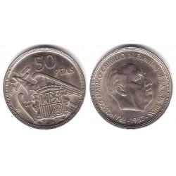 Estado Español. 1957*(58). 50 Pesetas (EBC) Exceso de metal en frente