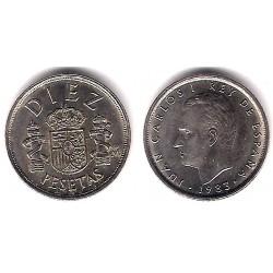 España. 1983. 10 Pesetas (EBC) Exceso de metal en torre derecha