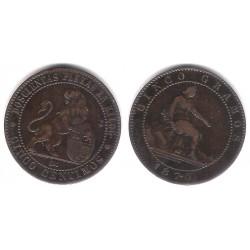 Gobierno Provisional. 1870. 5 Céntimos (EBC-) Ceca de Barcelona OM. Excesos de Metal