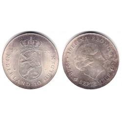 (196) Países Bajos. 1973. 10 Gulden (SC) (Plata)