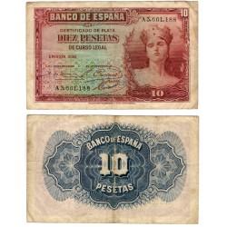 España. 1935. 10 Pesetas (BC) Serie A