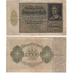 (71) Imperio Alemán (Weimar). 1922. 10000 Mark (MBC) Pequeña rotura margen inf.