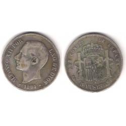 Alfonso XII. 1884*(-----). 5 Pesetas (BC+) (Plata) Ceca de Madrid MS-M. Falsa de Época