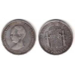 Alfonso XIII. 1891*(18-91). 5 Pesetas (MBC) (Plata) Ceca de Madrid PG-L. Falsa de Época