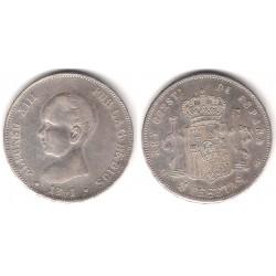 Alfonso XIII. 1891*(1--91). 5 Pesetas (EBC) (Plata) Ceca de Madrid PG-M. Falsa de Época