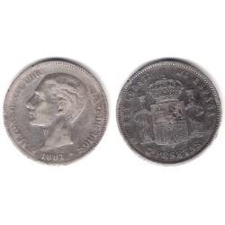 Alfonso XII. 1881*(-----). 5 Pesetas (BC) (Plata) Ceca de Madrid MS-M. Variante