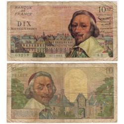 (142) Francia. 1959B. 10 Noveaux Francs (BC) Pequeñas roturas