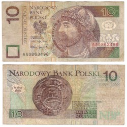 (173a) Polonia. 1994. 10 Zlotych (BC) Leves roturas márgenes