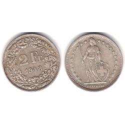 (21) Suiza. 1948(B). 2 Francs (MBC) (Plata)