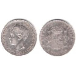 Alfonso XIII. 1896*(18-96). 5 Pesetas (BC+) (Plata) Ceca de Madrid PG-V