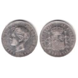 Alfonso XIII. 1896*(18-96). 5 Pesetas (MBC-) (Plata) Ceca de Madrid PG-V
