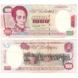 (76b) Venezuela. 1995. 1000 Bolivares (MBC+) Pequeños agujeros de grapa