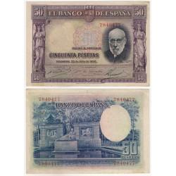 España. 1935. 50 Pesetas (EBC) Sin Serie. Pequeña mancha