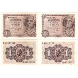 Estado Español. 1948. 1 Peseta (EBC+) Serie D. Pareja Correlativa
