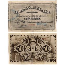 España (Santander). 1936. 50 Pesetas (MBC) Sin Serie. Restaurado