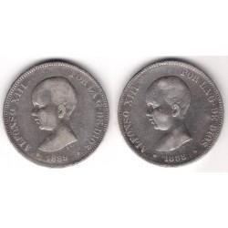 INVERSIÓN PLATA. Lote de 2 Monedas de 5 Pesetas (50gr.)