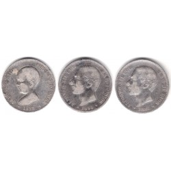INVERSIÓN PLATA. Lote de 3 Monedas de 5 Pesetas (75gr.)