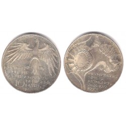 (133) Alemania. 1972(F). 10 Mark (EBC+) (Plata)