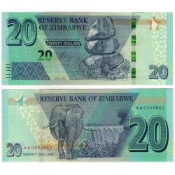 Zimbabue. 2020. 20 Dollars (SC)