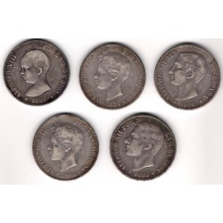 INVERSIÓN PLATA. Lote de 5 Monedas de 5 Pesetas (125gr.)