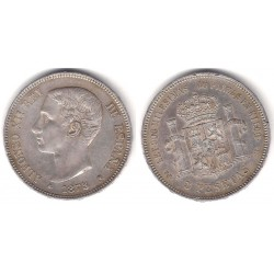 Alfonso XII. 1875*(18-75). 5 Pesetas (MBC) (Plata) Ceca de Madrid DE-M