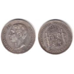 Alfonso XII. 1876*(---76). 5 Pesetas (BC+) (Plata) Ceca de Madrid DE-M