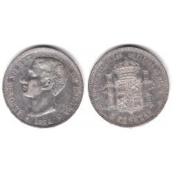 Alfonso XII. 1876*(18-76). 5 Pesetas (MBC-) (Plata) Ceca de Madrid DE-M