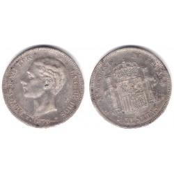 Alfonso XII. 1878*(18-78). 5 Pesetas (BC) (Plata) Ceca de Madrid DE-M