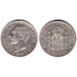 Alfonso XII. 1884*(18-84). 5 Pesetas (MBC-) (Plata) Ceca de Madrid MS-M