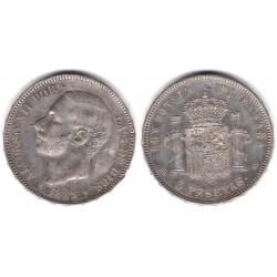 Alfonso XII. 1885*(18-87). 5 Pesetas (MBC+/EBC-) (Plata) Ceca de Madrid MS-M