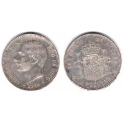 Alfonso XII. 1885*(18-85). 5 Pesetas (MBC) (Plata) Ceca de Madrid MS-M