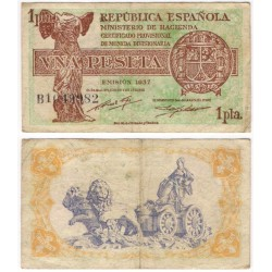 España (II República). 1937. 1 Peseta (MBC-) Serie B