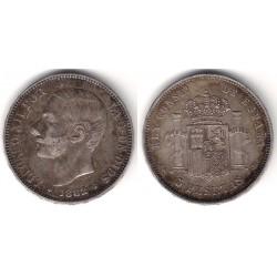 Alfonso XII. 1882*(18-82). 5 Pesetas (BC+) (Plata) Ceca de Madrid MS-M