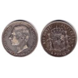 Alfonso XII. 1882*(-----). 5 Pesetas (BC) (Plata) Ceca de Madrid MS-M