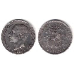 Alfonso XII. 1883*(-8-83). 5 Pesetas (BC) (Plata) Ceca de Madrid MS-M