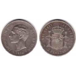 Alfonso XII. 1879*(18-79). 5 Pesetas (BC+) (Plata) Ceca de Madrid EM-M