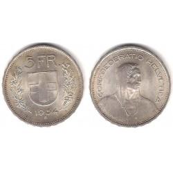 (40) Suiza. 1954(B). 5 Francs (SC) (Plata)
