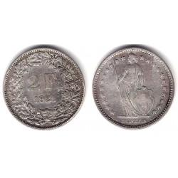(21) Suiza. 1921(B). 2 Francs (BC) (Plata)