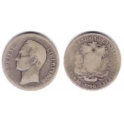 (Y24.2) Venezuela. 1900. 2 Bolivares (BC-) (Plata)