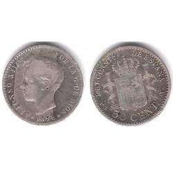 Alfonso XIII. 1896*(9--). 50 Céntimos (BC) (Plata) Ceca de Madrid PG-V