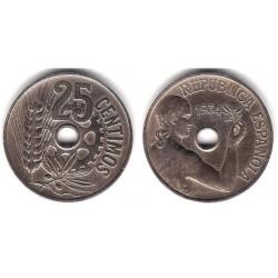 España (II República). 1934. 25 Céntimos (BC+)