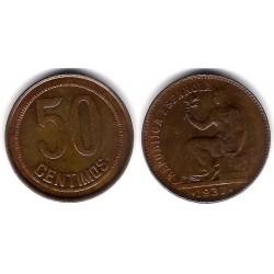 España (II República). 1937*(--6). 50 Céntimos (MBC) Variante
